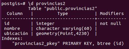 tabla con la extensión PostGIS