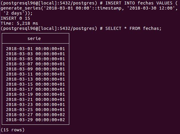generate_series() insert